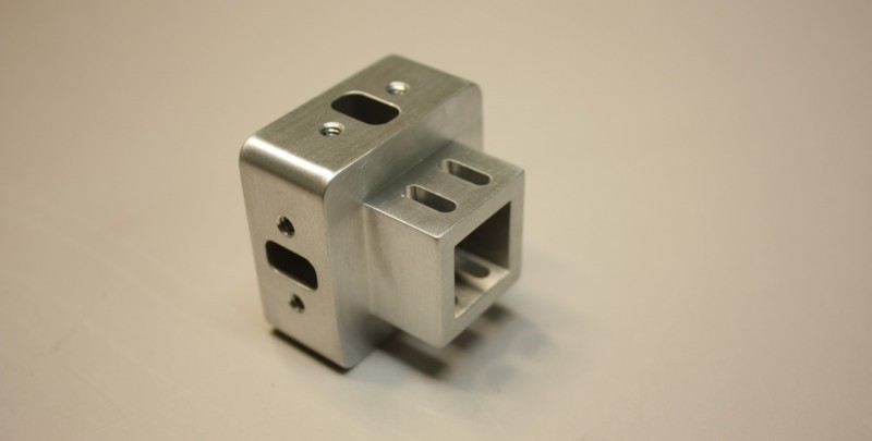 Wire EDM machining in aluminum medical component.