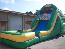 Paradise Island Double Lane Slide  19' Bounce House Waterslide WET or DRY, Roo's Wet or Dry Slides - Jacksonville Florida Bounce House Rentals