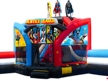 Justice League Double Challenge Bounce House Hopper WET or DRY, Roo's Hopper Combos - Jacksonville Florida Bounce House Rentals