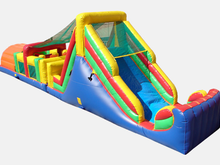 52' Rainbow Double Lane Obstacle Course Bounce House Waterslide WET or DRY, Roo's Wet or Dry Slides - Jacksonville Florida Bounce House Rentals