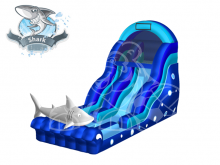 Shark Attack  19'  Bounce House Waterslide WET or DRY, Roo's Wet or Dry Slides - Jacksonville Florida Bounce House Rentals