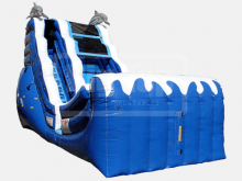 Dolphin Wave Slide  18' Bounce House Waterslide WET or DRY, Roo's Wet or Dry Slides - Jacksonville Florida Bounce House Rentals