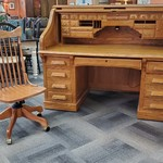 1-32064 National MT Airy Oak Roll Top Desk and Chair