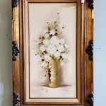 1-31608 Painted Flower Picture w/ Wood Frame