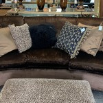 1-32367 Arhaus Furniture Chocolate Brown, Down Filled, Curved Sofa (length 8ft )