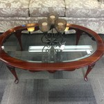 1-32695 Oval Coffee Table w/ Beveled Glass Insert