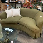 1-33338 Henredon Curved Sofa-Green