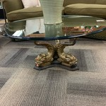 1-33405 Coffee Table-Glass Top w/ Brass Fish Base