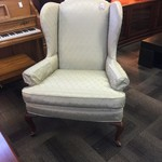1-33563 Wingback Chair-Mint Green Satin