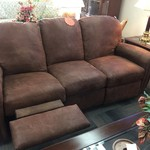 1-33513 Brown Sofa w/ Recliner
