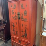 1-33490 Large Asian Red Lacquer Cabinet