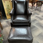 1-33625 ARHAUS Black Leather Chair and Ottoman