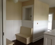 Painted breakfast nook and wainscot.