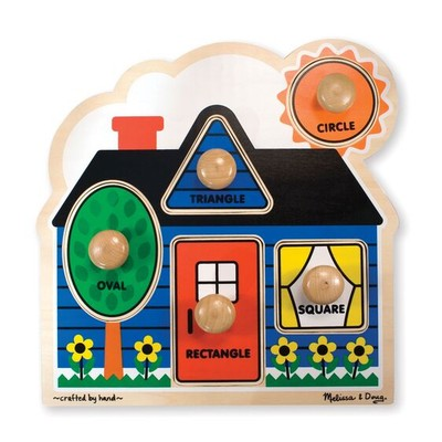 MELISSA AND DOUG #2053 WOODEN JUMBO SHAPES PUZZLE image.