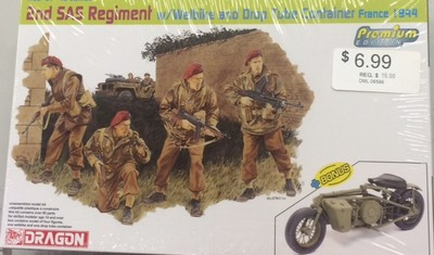 DRAGON #6586 2ND SAS REGIMENT w/WELBIKE AND DROP TUBE CONTAINER FRANCE 1944 image.