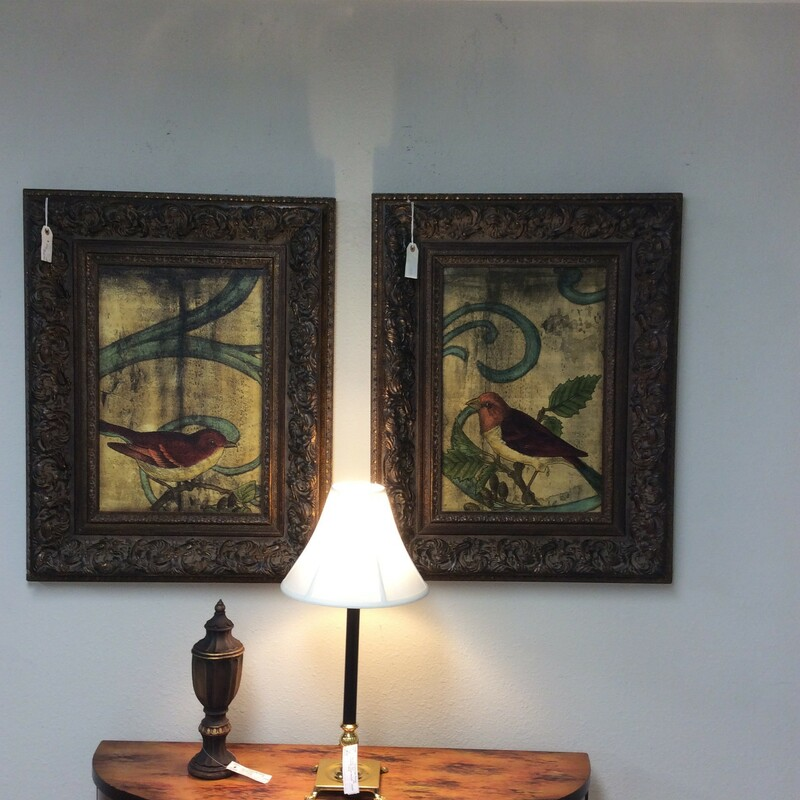This pair is so charming! The colors are muted, shaded and soft as 2 small birds are delicately perched on tree branches. Ornately framed.