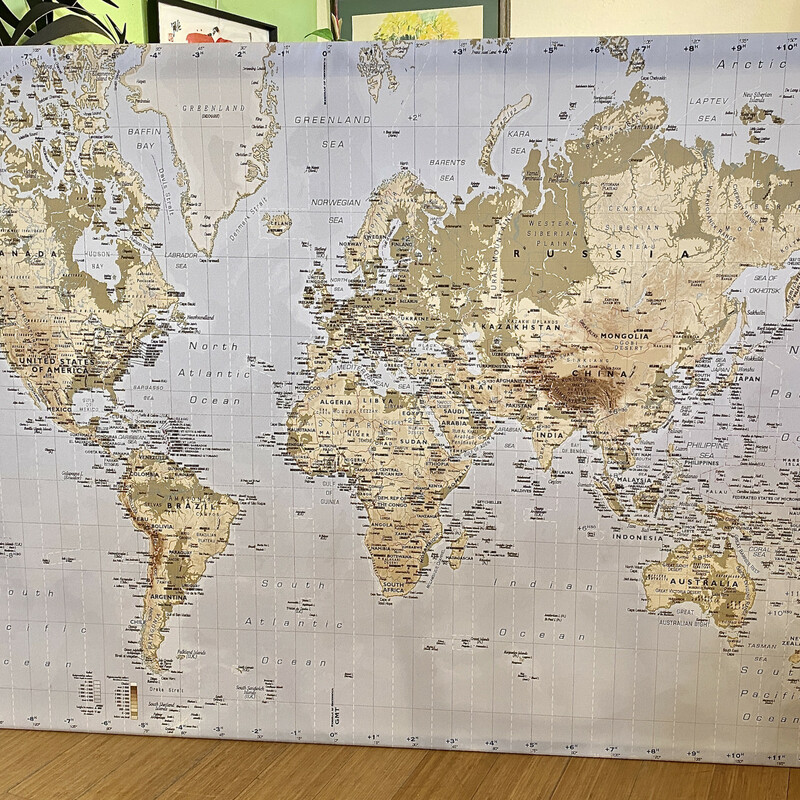 Canvas World Map IKEA, Black, Size: 79x56
