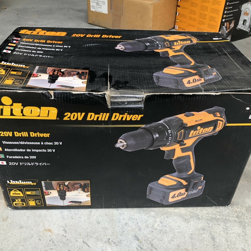 Triton T20DD 20V Lithium-Ion Compact Drill Driver Kit. Comes with Drill Driver, 2 Batteries, & Charger in Carrying Case