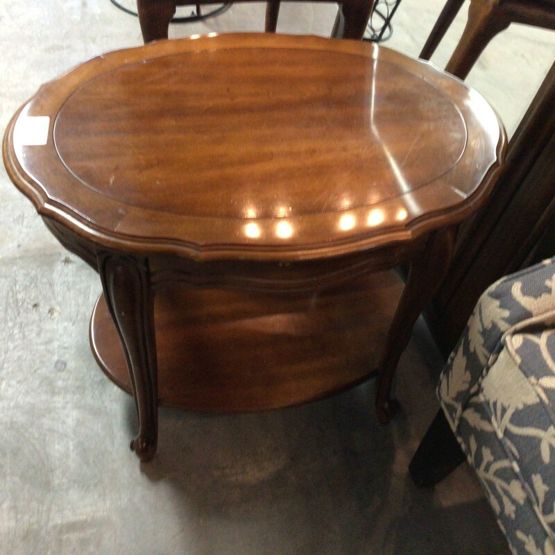 "Oval End Table, Cherrywood, 2 Shelves<br /> 27"" x 20"" x 21"" tall"