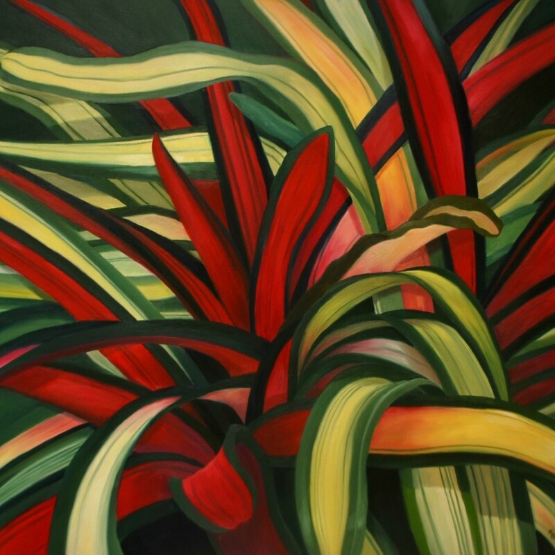 "Title: Desert Beauty, Size: 30"" x 40\"", Artist:  Kay Hofler, Medium:  Oil, Description:  Complementary colors of red and green add to the lively movement of the agave leaves."