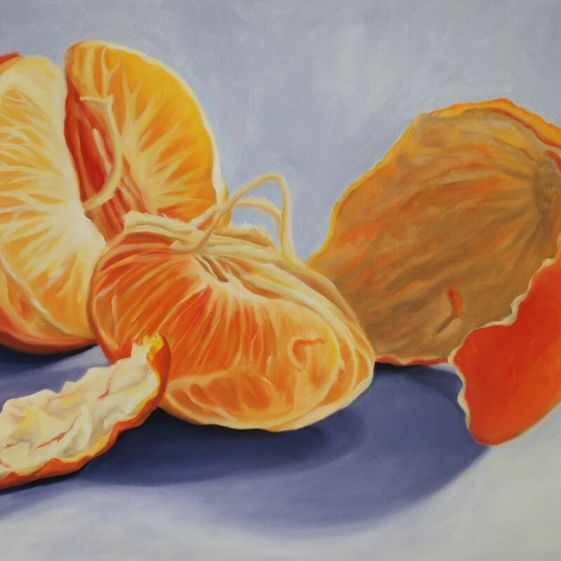 "Title: Midnight Snack, Size: 24"" x 36"", Artist: Kay Hofler, Medium: Oil, Description: A luscious organge has been peeled and ready for a delicious and healthy snack.  The purple background sets off the brilliant orange color of the fruit.  It is on gallery wrapped canvas with the painting continued around the sides"