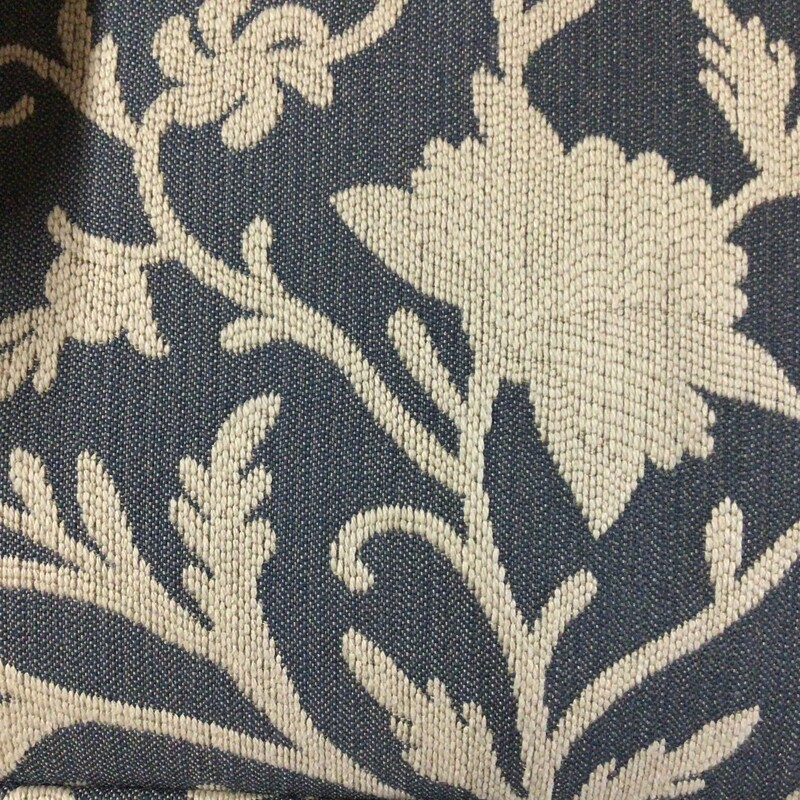 "Denim Wing Back Chair, Denim, Cream Embroidered Flowers<br /> 28"" wide x 36"" deep x 43"" tall"