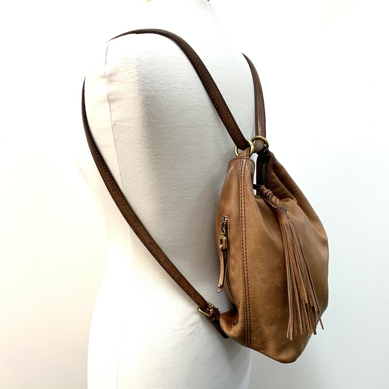 Hobo Convertible Handbag<br /> Backpack/Shoulder bag<br /> Tan Leather