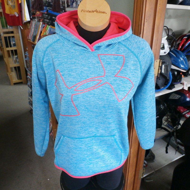 Under Armour ColdGear hoodie blue YXL #25225<br /> Our Clothes Rating: 3- Good Condition<br /> Brand: Under Armour<br /> size: Girl&#039;s YXL- (Across chest: 21&quot; Length: 22&quot;)<br /> color: blue<br /> Style: long sleeve; screen printed<br /> Condition: 3- Good Condition - some pilling and fuzz; some fading and discoloration; wrinkles; some stretching and wear from washing and wearing; no stains; no rips or tears; some small cracks in screen printing<br /> Item #: 25225<br /> Shipping: FREE