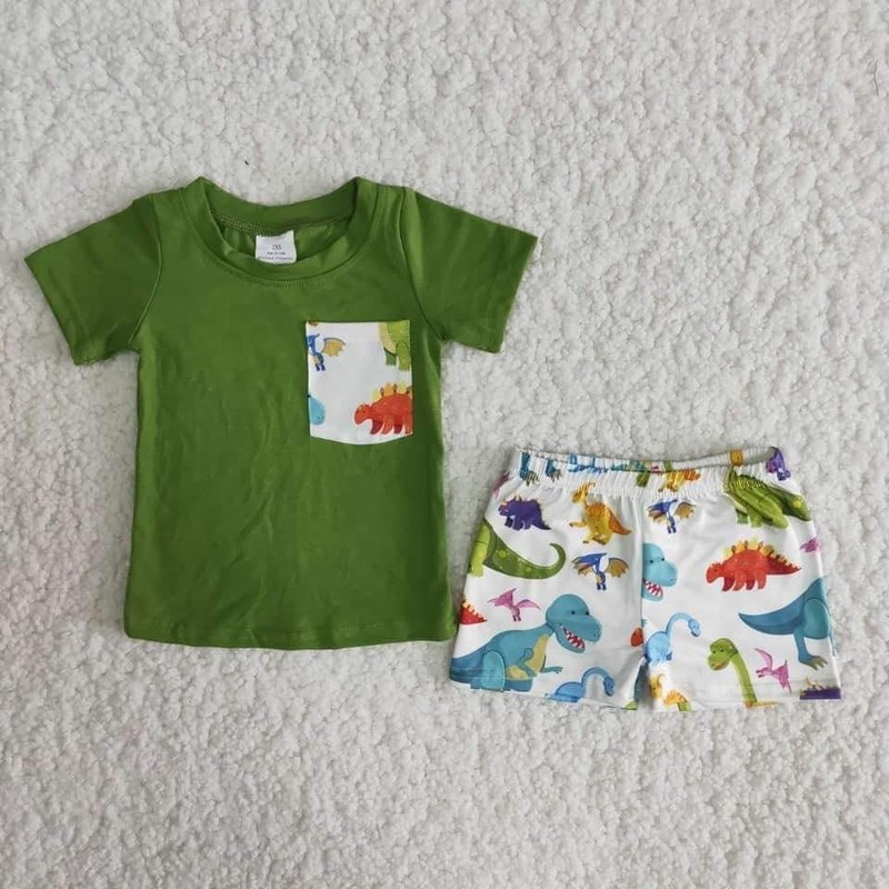 2pc Dinsoaur Short Set, Green, Size: 6m Boy