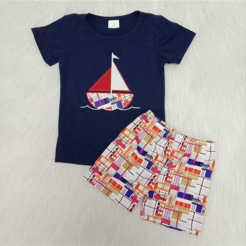 Sailboat Short Set, Navy, Size: 6 Boy