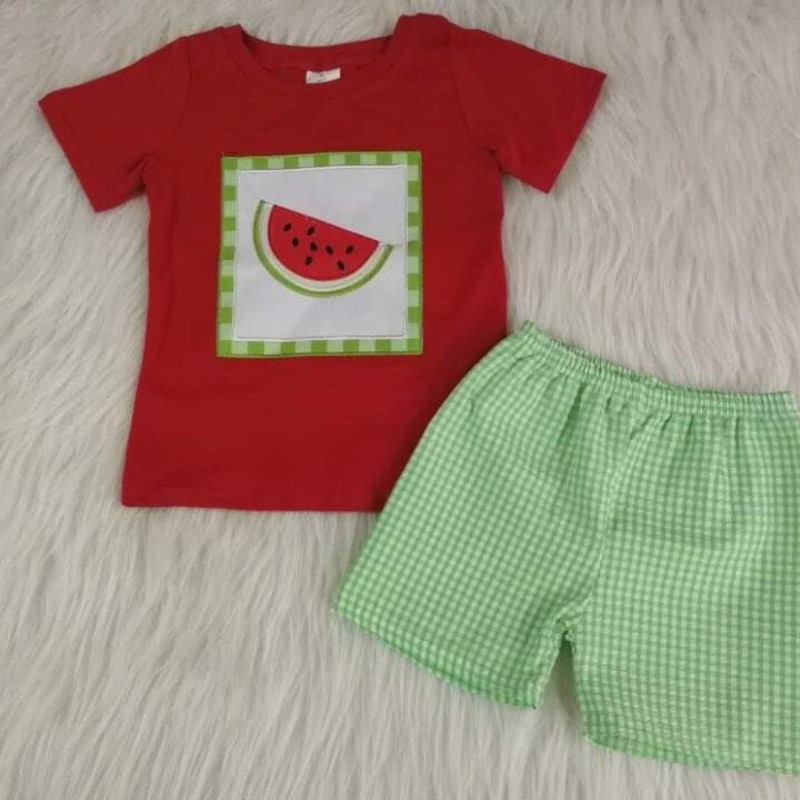 2pc Watermelon Short Set, Red/Grn, Size: 6 Boy
