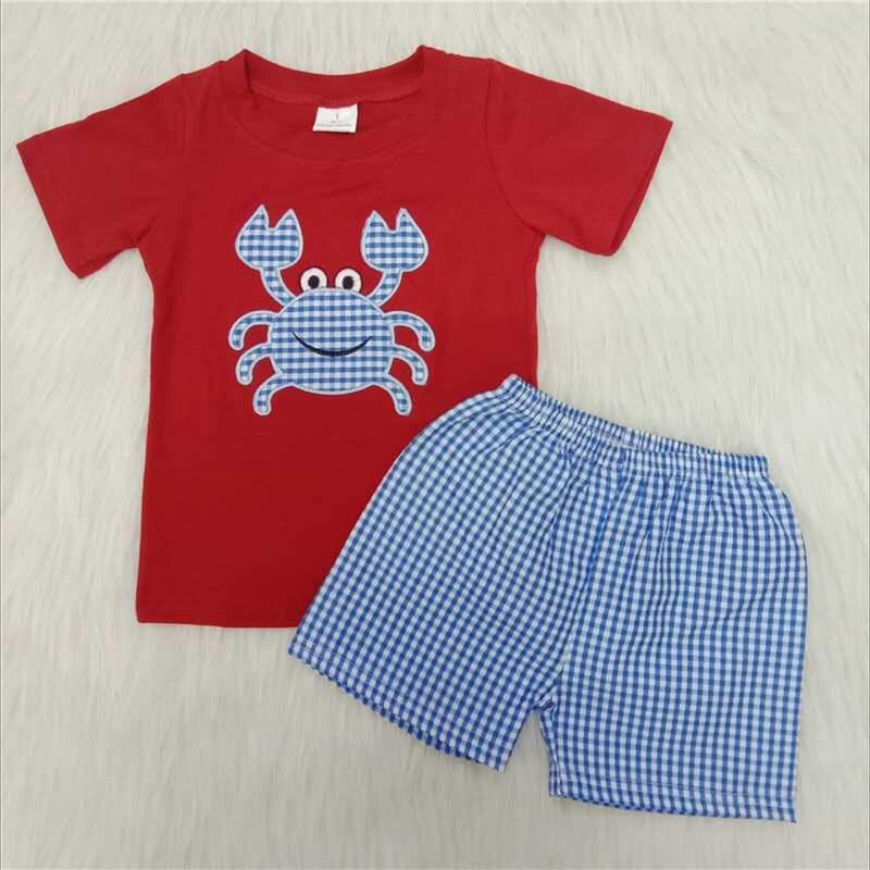 2pc Blue Crab Short Set, Red/Blue, Size: 4T Boy