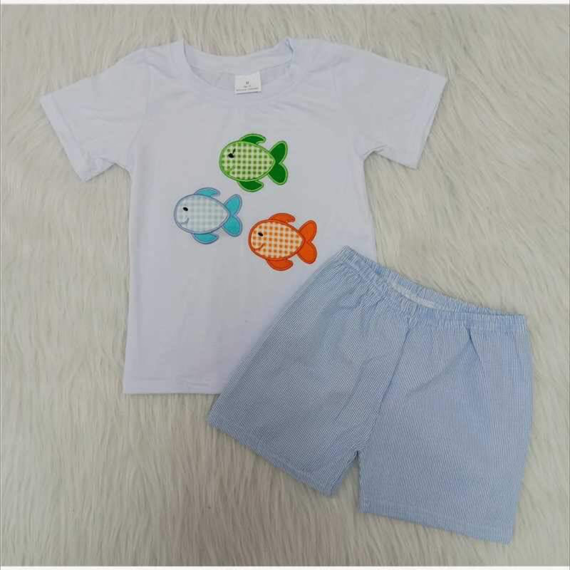 2pc Fish Short Set, White, Size: 2T Boy