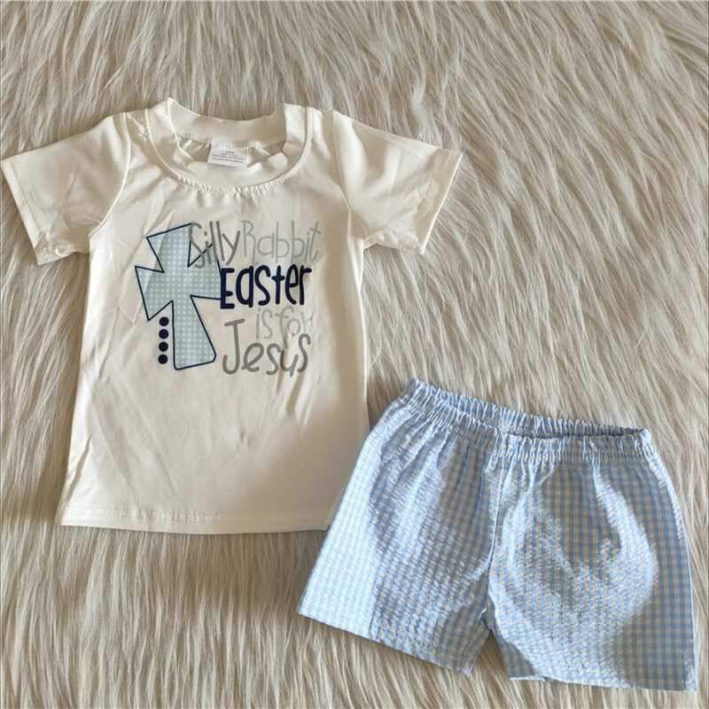 2pc Easter Short Set, Wht/Blue, Size: 12m Boy