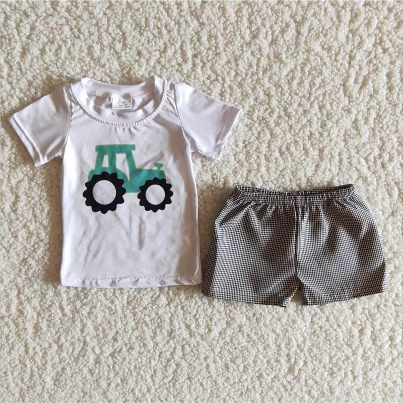 Tractor Short Set, White, Size: 6m Boy