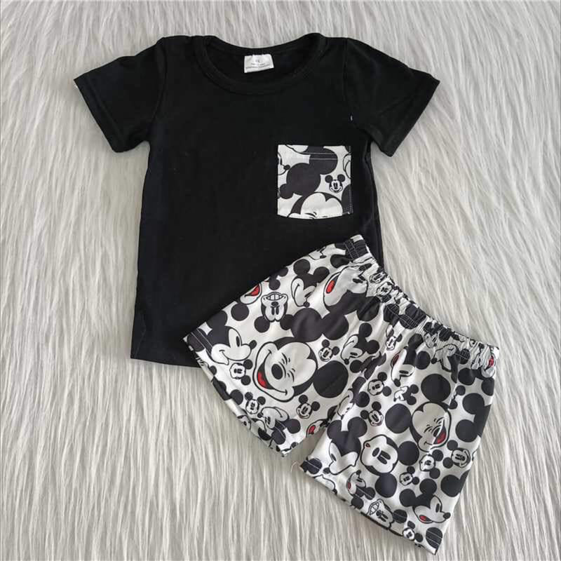 2pc Mickey Short Set, Black, Size: 6m Boy