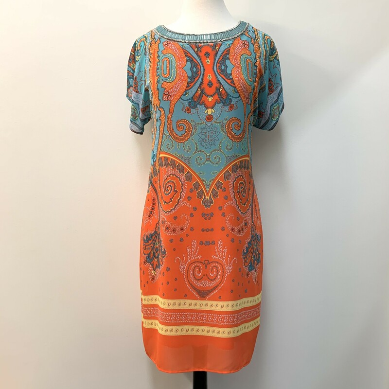 Tribal Dress<br /> Boho Print<br /> Beaded Neckline<br /> Aqua & Orange<br /> Size: Medium