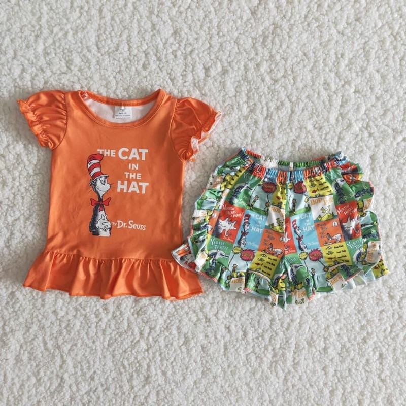 2pc Dr. Seuss Short Set, Orange, Size: 6m Girl