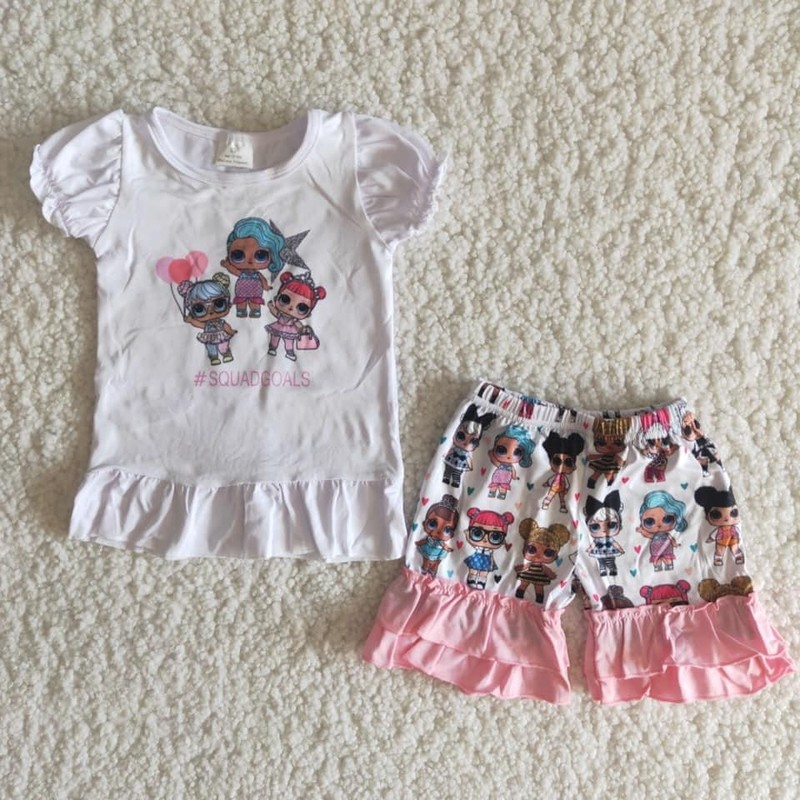 2pc LOL Short Set, Wht/Pink, Size: 6m Girl