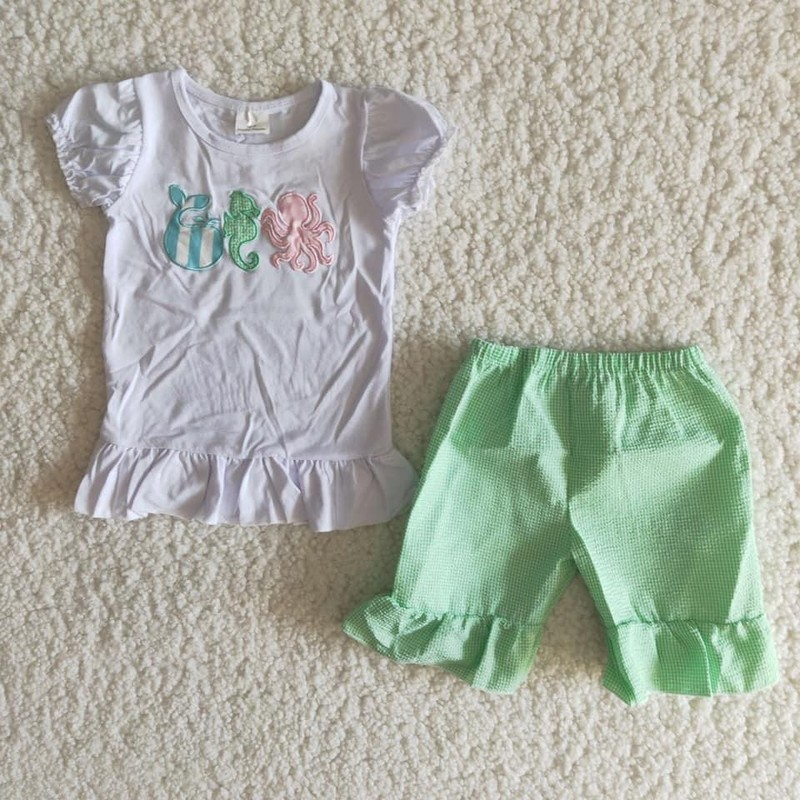 Sea Life Short Set, Grn/Wht, Size: 18m Girl