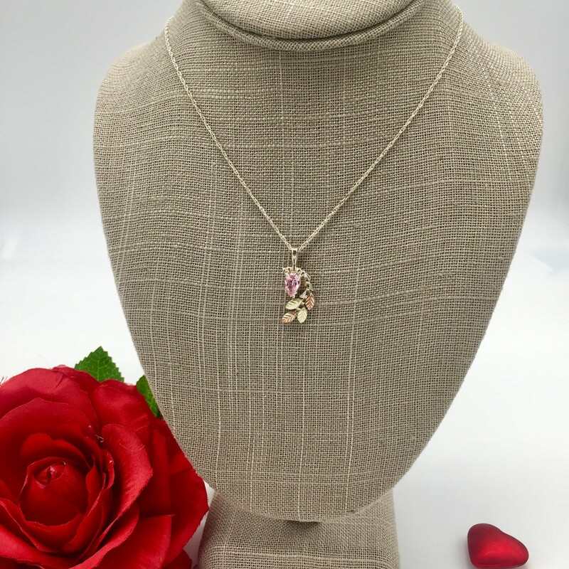 "STERLING SILVER W/12KT LEAVES<br /> WEIGHT 1.9 DWT<br /> PEAR SHAPE PINK ICE STONE WITH 4 BHG LEAVES ON PENDANT ON 18"" CHAIN<br /> <br /> <br /> <br /> <br /> SS BHS Pink Ice Pear 18, SILVER, Size: SH"
