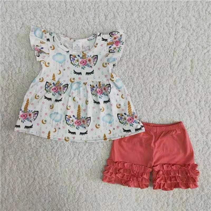 2pc Unicorn Ruffle Set.
