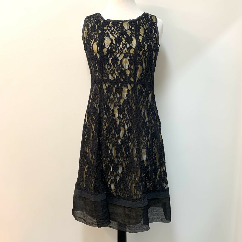 NEW Neesh Powdery Dress<br /> Lace Overlay<br /> Sleeveless<br /> Black & Gold<br /> Size: Medium