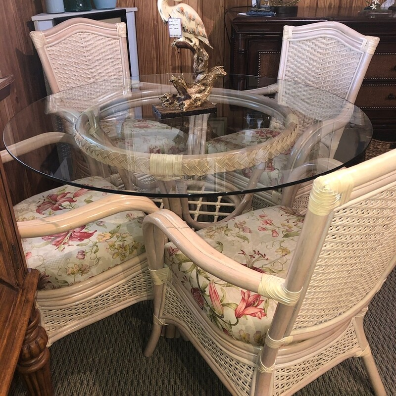 "Rattan And Wicker Dining Set with Floral Pattern Seats, Used, Size: 48"" Glass Top"