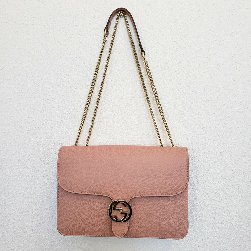 Gucci<br /> Interlocking G<br /> Pink with Gold Hardware with Adjustable Chain Strap<br /> Original Retail $1790