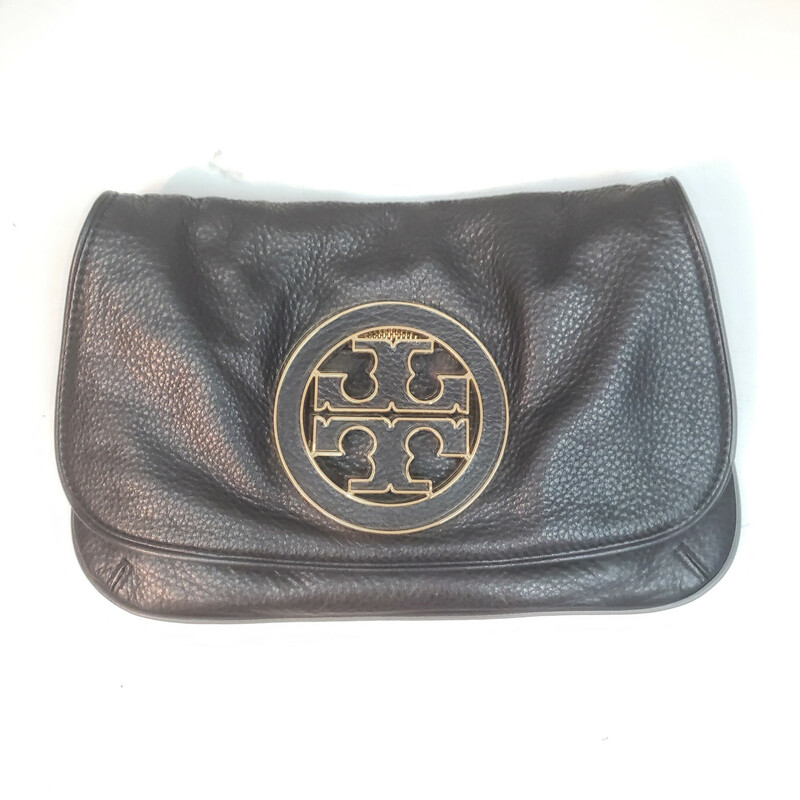 Tory Burch<br /> Black Purse with Gold Hardware<br /> Removable Long Chain Strap<br /> Includes Mirror on the inside<br /> Original Retail $495