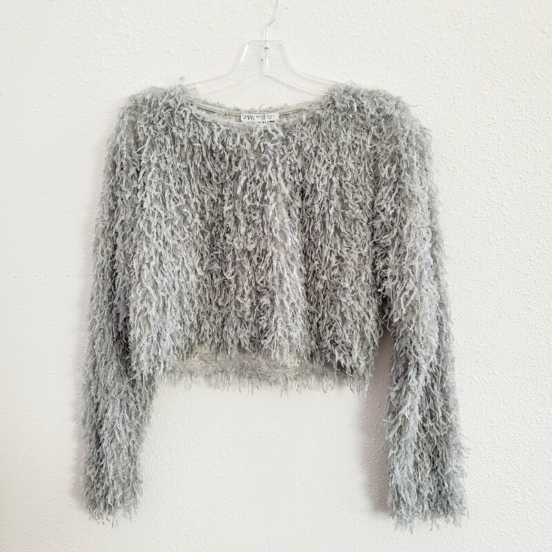 Zara<br /> Cropped Sweater Shaggy Details<br /> Size: M<br /> NWT