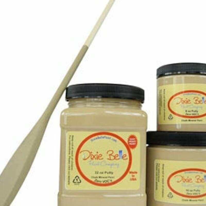 Dixie Belle Putty Mineral Paint. Taupe Yellow Chalk Paint Furniture Decor; Wood; Metal; Glass; Ceramic; Fabric; or Cabinet Paint.<br /> <br /> Putty is a muted taupe with a yellow undertone. This stunning color will cast a layer of warmth and cozy feel over any piece.
