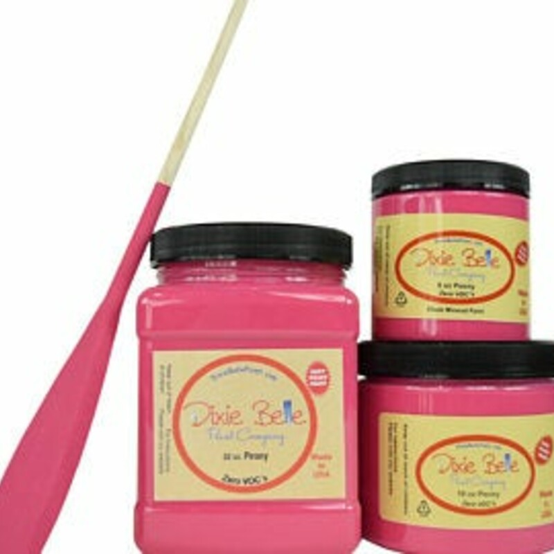 Dixie Belle Peony Mineral Paint. Pink Chalk Paint Furniture Decor; Wood; Metal; Glass; Ceramic; Fabric; or Cabinet Paint.<br /> <br /> Peony is a bright; hot pink. This bold color is perfect for a variety of styles such as preppy; bohemian; or even glam with a touch of metallic!<br /> <br /> Peony makes us think of bubblegum and blooming flowers. Use this cheerful color to add a pop of pink to your home.