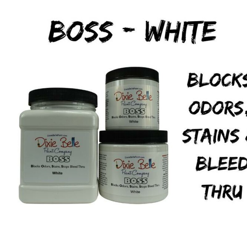 BOSS Blocks Odors; Stains; Stops Bleed thru!<br /> <br /> BOSS contains odor eliminating and stain blocking technology for exceptional coverage. This creamy formula glides on smooth and dries in about an hour.<br /> <br /> BOSS prevents bleed thru of wood tannins and varnishes; allowing you to transform any piece to a crisp; light color with ease. This product will completely mask odors on old furniture that may have been exposed to smoke; pets; or other circumstances that contribute to odors.<br /> <br /> In two coats; BOSS tackles tough set in stains including permanent marker; water stains; and much more. BOSS even masks smoke odors and nicotine smells. BOSS is a water based formula that mimics an oil based or shellac product. That means easy soap and water clean-up!